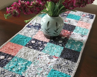 Modern Quilted Table Runner, Winter Table Runner, Spring Table Runner, Summer Table Runner, Flowers, Kitchen and Dining Decor, Handmade