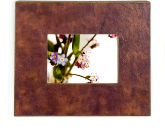 Picture Frame-Photo Frame-Handmade Paper-5x7 Frame-Table Top Easel-Housewarming Gift-Brown Paper-Tan Paper