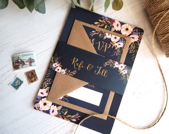 Bleu Fonce Wedding Invitation with matching RSVP - SAMPLE