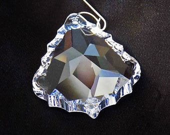63mm Clear Lead Crystal Chandelier French Cut Pendeloque Prism Suncatcher Wedding Decor Jewelry Parts