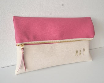 Monogrammed clutch bag, Personalized clutch purse, Bridesmaid gift