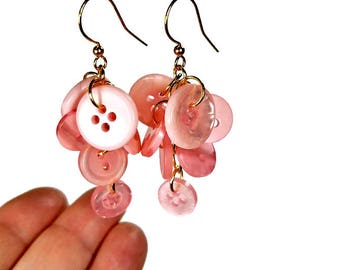 Button Dangle Earrings, Pink Dangle Earrings, Pink Button, Button Jewelry, Upcycled Jewelry in Gold OR Silver