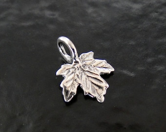 2 Sterling Silver Maple Leaf Charms 8x11mm, Made in Israel, SC34