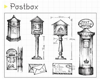 clear Stamp Set / Clear Stamps / postbox postoffice, letter