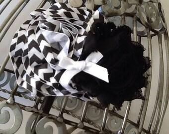 black hair flower, chevron black and white hair clip, girls hair clip,  flower hair clip, hair flower hair accessory