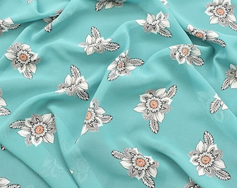 """57""""width 4 Patterns Floral Blue White Flower Mint Blue Yellow Red Sheer Chiffon By yard"""