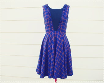 Midnight Wanderer Ruffle Plaid Dress - Navy Blue Plaid Dress, Deep V-Neck with Black Opaque Mesh Insert, Plaid Skater Dress, Size Small
