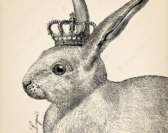 Instant Download French Vintage Rabbit with Crown - Printable Digital Graphics - Fabric Image Transfer iron on pillows cushions tote