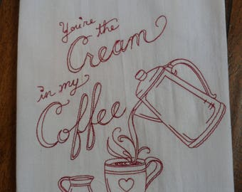 "New Embroidered 18""x28"" Old Fashioned Flour Sack Kitchen Towel REDWORK ""CREAM In My COFFEE"" Design"