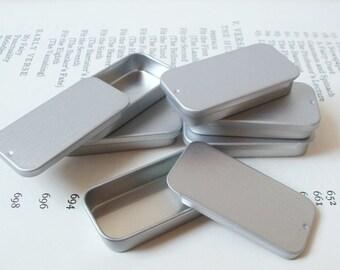 Small Sliding Lid Tins, Jewelry Box, Candle Tin, Lip Balm Tin, Blank (Set Of 20) Silver Color, 10ml Small Organizer, Small Storage Box