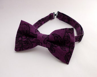 Mens bow tie purple floral - black lace bow tie - purple bow tie - floral bow tie - groomsmen bow ties - cotton bowtie mans pre tied