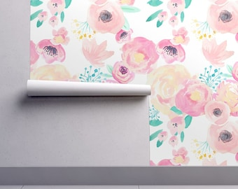 Floral Wallpaper - Indy Bloom Blush Baby B By Indybloomdesign - Nursery Custom Printed Removable Self Adhesive Wallpaper Roll by Spoonflower