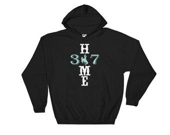 Wyoming Hoodie Hooded Sweatshirt Mint Green White Bucking Horse and Rider Love Wyoming Native Wyoming Cowboys
