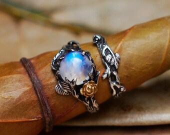 Set of 2 Cleo+Mio Moonstone Engagement Ring Set READY TO SHIP Moonstone ring, Wedding Ring Set, Twig ring, Stacking Rings Set
