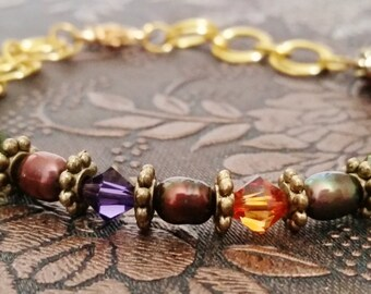 Pearl and Swarovski Half Bracelet, Moroccan Colors, Purple Green and Orange, Chainmaille Bracelet