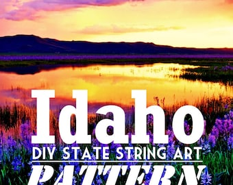 """Idaho - DIY State String Art Pattern - 10.5"""" x 6.5"""" - Hearts & Stars included"""