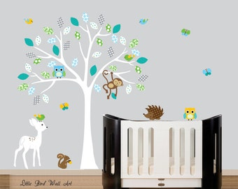 Childrens white tree wall decal turquoise blue owl decal tree wall sticker