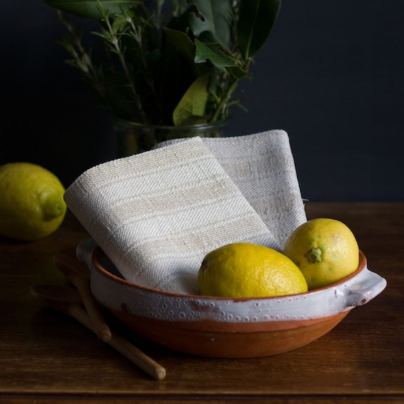 French Natural Linen Stripe Kitchen Towel
