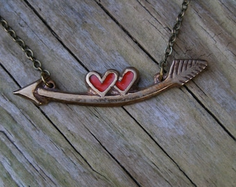 Arrow necklace, Heart pendant, Cupid jewelry, Glass enamel, Brass and bronze, Valentine gift, Love gift for her, Arrow charm, Valentine day