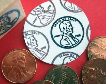 Lucky Penny Rubber Stamp - Handmade by Blossom Stamps