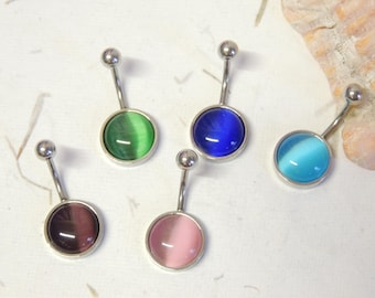 Cats Eye Belly Button Ring You Choose Color, Non Dangle Belly Ring, Simple Belly Ring, Navel Piercings