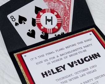 Las Vegas/Casino Theme Invitations for Bachelorette and Bachelor Parties and Birthdays