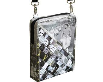 Small zip crossbody using magazine paper, FREE SHIPPING, vegan friendly gift, vegan bag, upcycling by milo, naveh milo, green product