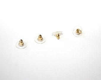 10 Pcs. Ear nuts / silicone / gold tone / 12 mm SZ081