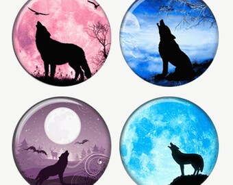 Wolves Howling In The Night Wolf Silhouettes Magnets or Pinback Buttons or Flatback Medallions Set of 4