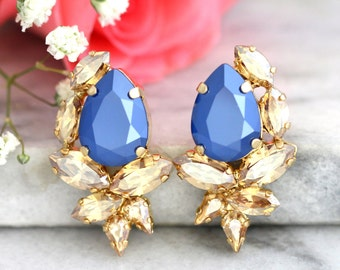 Blue Champagne Earrings, Royal Blue Earrings, Gift For her, Bridal Earrings, Swarovski Earrings, Navy Blue Earrings, Bridesmaids Earrings