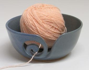 Ceramic Yarn Bowl, Yarn Keeper, Spiral Yarn Bowl, Denim Blue Bowl, Knitting Holder, Wheel Thrown Yarn Bowl, Hand Carved, Pottery Yarn Bowl,