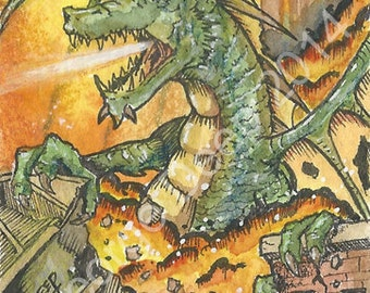 Fire Dragon Original Watercolor ACEO ATC Painting