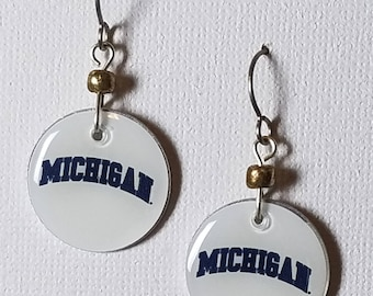 University of Michigan earrings, Michigan Wolverines jewelry, University of Michigan Wolverines, school spirit jewelry