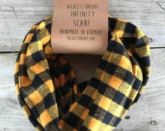 Yellow and Black Buffalo Plaid Flannel Infinity Scarf - Plaid - Flannel - Oversized - Warm - Winter- Cozy - Unisex - Gray