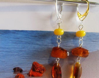 Natural Baltic Amber Earrings 4.2 gr, Silver color clasp Antique cognac transparent beads yellow tablet layered for adult
