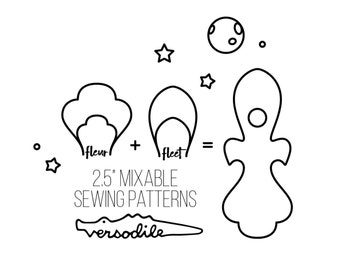 """Rocket   Cloth Pad Pattern   Bundle with extra wings   2.5"""" Snapped Width"""