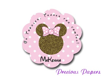 Personalized Minnie Mouse gold glitter Birthday Stickers Minnie mouse Party Favor stickers Scalloped Labels
