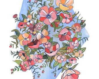 Hello Spring - Floral Illustration - Print
