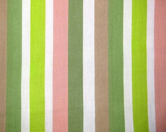 1950s Vintage Cotton Fabric - Stripes in Green, Pink, Tan White