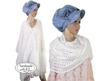 Romance crochet Ajour Hand knitted 200 cm long crochet scarf fringe scarf stole