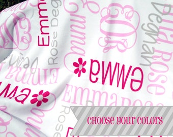Baby Blanket Personalize with Name & Monogram - Personalized Receiving Blanket - Custom Baby Blanket - Swaddling Blanket - Baby Photo Prop