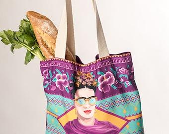 Frida Kahlo bags, canvas bag with Frida Kahlo's illustration print