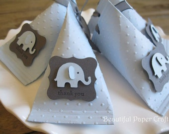 Baby Blue and Grey  Baby Elephant - Baby Shower Favors - Birthday Party Favors - Elephant favor boxes..set of 12