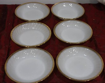 Vintage FIRE KING milk glass swirl Anniversary salad soup bowls gold trim