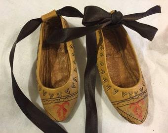 Wonderful unique antique leather doll/child shoes
