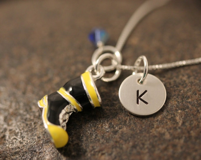 Sterling Silver Mini Initial Hand Stamped Fireman Boot Charm Necklace perfect for firefighters wives or girlfriends