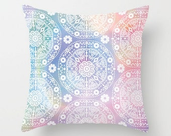 Bohemian Pillow, Colorful Throw Pillow, Decorative Pillow Case, Boho Cushion Cover, Accent Pillow, 16x16 18x18 20x20, White Blue Pink Purple