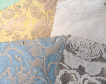 Fortuny vintage cotton fabric sample lot, damaged, AS-IS, 9 x12 / Four pieces of designer fabric sample