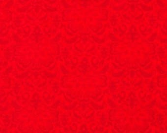 Tone on Tone Red Vintage Motif Cotton Fabric By the Yard