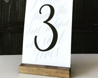 Table number holder, wood sign holder, menu holder, wood table number, wood card holder